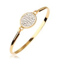 Luxury Women's 14K Yellow Gold Plated Crystal Pave Cuff Bracelet Wedding Jewelry
