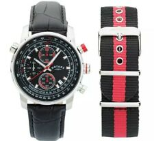 Rotary Men's Chronograph Black Leather/Canvas Strap Watch Gents GS03641/04/KIT