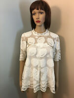 HD IN PARIS ANTHROPOLOGIE Sz 6 S Ivory All LACE Lemon BLOUSE TOP Elbow Sleeve