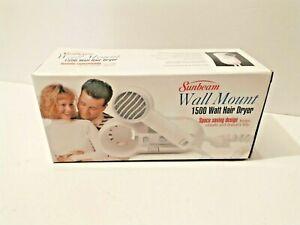 *100% BRAND NEW IN THE BOX* SUNBEAM 1500 WATT WALL MOUNT NICE HAIR DRYER 1626-20