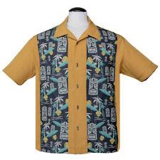 Steady Clothing Rockabilly Vintage Bowling Shirt Hemd Tiki In Paradise Senfgelb