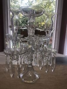 """Vintage Heisey Glass 3tier Candelabra with Prisms GORGEOUS 16"""" Tall"""