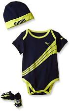 Puma Baby Boys 3pc Bodysuit Set Navy New Born Infant Size 0-6 Months New