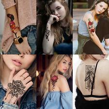 6 Sheets Sexy Temporary Tattoo Body Art Fox Owl Flower Tattoo Sticker Fake Tatoo