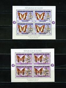 GUINEA BOY SCOUTS &  BUTTERFLIES   SET OF TWO SHEETS OF FOUR MINT NH