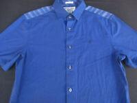Penguin Mens Button Front Short Sleeve Navy Cotton Logo Shirt Small S