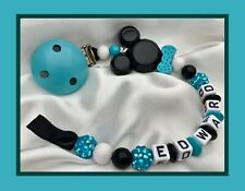 ♕ Personalised DUMMY CLIP Your Name Choice ♕ MICKEY BOW TIE ♕ Turquoise Sparkle♕