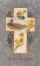 A PEACEFUL EASTER GREETING EMBOSSED GILT POSTCARD c1910s CROSS~FLOWERS