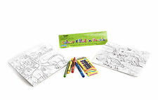 """*NEW"""" SET OF 2 COLOUR YOUR OWN DINOSAUR 24 PIECE JIGSAW PUZZLES WITH CRAYONS"""