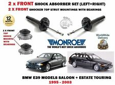 FOR BMW E39 520D 525TD 530D 1995-> 2X FRONT SHOCK ABSORBER SET + TOP MOUNTINGS