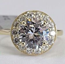 14K Solid Yellow Gold Cubic Zirconia Round Halo Engagement Ring CZ 8mm / 2ct