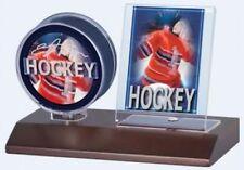 Ultra Pro Wood Base Puck & Card Holder (Dark Wood) Wooden Hockey Display Case