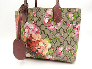 GUCCI GG Blooms Supreme Reversible Tote Hand Bag PVC Pink Red Beige 372613 V4502