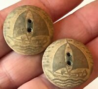 Lot of 2 Wood Wafer dome shape sailboat boat water buttons vintage #6195