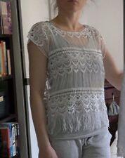 b.young White Cotton Top Blouse Vest Lace Fringe Off Shoulder Boho Knit size M L