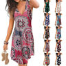Summer Womens V Neck Sleeveless Floral Print Wrap Dress Casual Loose Short Dress