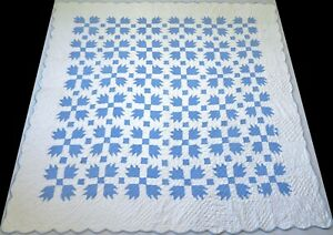 Vintage 1940's Hand Stitched 6-7 spi Periwinkle Blue Bear Paw Quilt 76x76