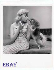 Sandra Dee cute candid w/dog VINTAGE Photo