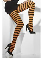 Ladies Striped Tights Black & Orange Opaque Pumpkin Witch Fancy Dress