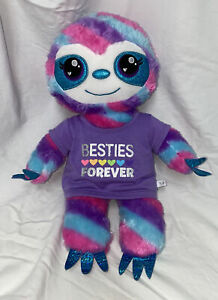 Build A Bear Heartable Blue Pink Rainbow Sloth Plush Toy Besties Forever Shirt