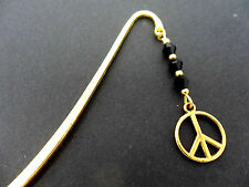 A GOLD COLOUR PEACE SIGN CHARM BLACK CRYSTAL BEADS BOOKMARK. NEW.