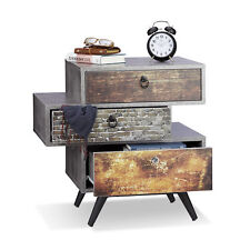 Vintage Kommode, 3 Schubladen, Retro Griffe, Betonoptik Lowboard, Shabby Schrank