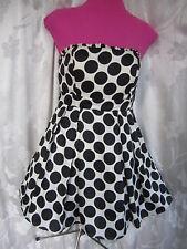 XXI Black White Polka Dot Strapless  Prom Cocktail Dress Sz M  (K-17)