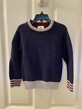 Lands' End Boys Crew Sweater Donegal Navy Blue Size Small 4 NWT