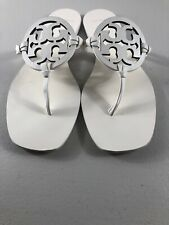 Tory Burch Miller Square Toe Sandals Flip Flops Off White Leather Size 9.5