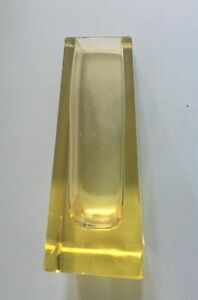 Bohemian Art Deco Citrine Faceted Crystal Glass Vase Moser Style