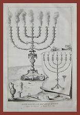 Candelabri d'oro sette braccia Kandelaar Calmet 1725 bible bibbia incisione