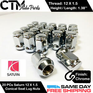 20 PCS SATURN CHROME 12X1.5 WHEEL LUG NUTS BULGE ACORN CONICAL SEAT FIT SATURN