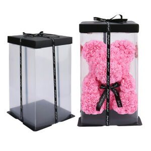 Hand-made Pink Teddy Bear Rose Flowers +Box for Birthday Wedding Xmas Lover Gift