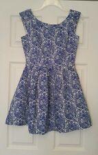 NWT Modcloth Blue & White Damask Mini Dress Sz 8 Pleated Linen Retro Miss Cherry
