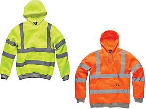 Dickies High Viz Thermal Warm Work Wear Fleece Hooded Sweatshirt Top. EN471