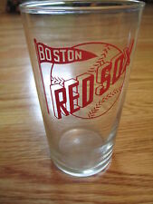 "Vintage 50s BOSTON RED SOX w/ Pennant & Baseball 4.75"" Glass"