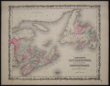 1863 Map of New Brunswick Prince Edward Island Canada