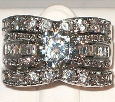 EXOTIC VERSATILE 4 CT. Cubic Zirconia Bridal Engagement Wedding Ring Set- SIZE 5