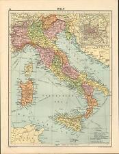 1919 MAP ~ ITALY INSET ROME ~ SICILY SARDINIA