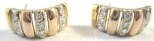 FINE 14KT YELLOW GOLD 4.8 GRAMS LADIES EARRINGS 18 DIAMONDS 0.27CT