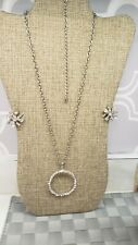 DESIGNER SIGNED BW PENDANT NECKLACE AND CLIP ON ICY CLEAR RHINESTONE EARRINGS