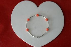 """BEAUTIFUL 925 SILVER BRACELET WITH CORAL 5.1 Gr 7"""".5 INCH LONG IN GIFT BOX"""