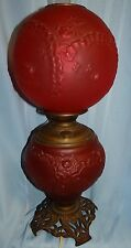 Antique Pittsburgh GWTW Ruby Red Satin Glass Ruffles/Ribbons & Roses Oil Lamp
