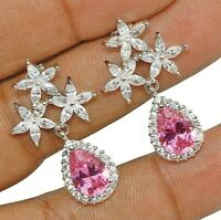 3CT Pink Sapphire & Topaz 925 Solid Sterling Silver Earrings Jewelry, W-28