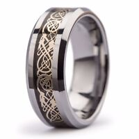 New Tungsten Carbide Gold Celtic Dragon Inlay Mens Wedding Band Ring 8mm