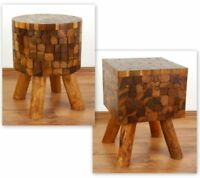 Teak Wood Stool Beautifully Detailed Handcrafted Side Table Stand Java Indonesia