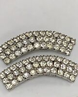 Vintage Musi Fancy Curved Rhinestone Shoe Clips, Signed Musi, 2 1/8 Inch
