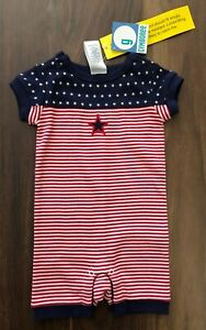 GYMBOREE Gymmies Shortie Pajamas PJ's Sleeper 4TH OF JULY Flag Star Stripe 3-6