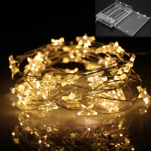 50 LED Battery Operated Star Copper Wire Fairy String Lights Wedding Party Decor