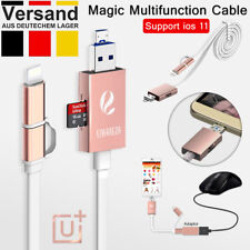 BUGI 3 in 1 Lightning iPhone Ladekabel mit TF//SD Kartenlesegerät Card Reader